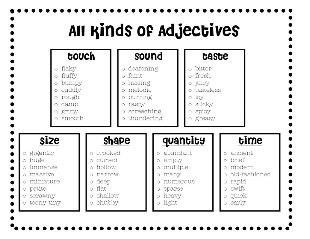 3rd Grade Descriptive Adjectives Worksheet